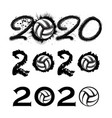 volleyball 2020 new year numbers vector image vector image