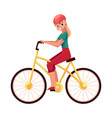 young pretty blond woman girl riding a bicycle vector image vector image