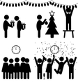 Set of Christmas flat office icons isolated on vector image