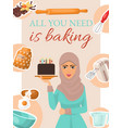 baking concept poster banner woman holding vector image vector image