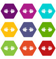barbell icon set color hexahedron vector image vector image
