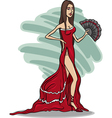 beautiful woman in red dress cartoon vector image
