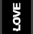 black and white banner design with love sign vector image vector image