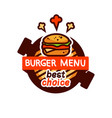 burger very tasty logo emblem icon vector image vector image