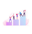 business team climbing up column chart with leader vector image