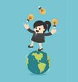 business woman play gymnast bulbs light on earth vector image vector image