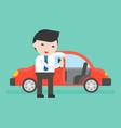 businessman or salesman open cars door for vector image vector image
