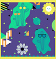 cacti in sunglasses seamless pattern with vector image