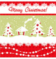 Cartoon Christmas card with xmas tree vector image