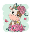 cartoon cow with flowers on a green background vector image vector image