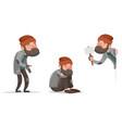 cartoon homeless bum characters set vector image