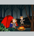 cartoon of two zookeepers are camping in a dark fo vector image vector image