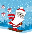 Christmas cartoon character skiing Santa Claus vector image