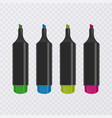 collection of bright and colored highlighters with vector image vector image