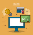 colorful poster of education with computer and vector image vector image