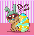 cute bear with happy easter egg vector image vector image