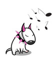 cute cartoon dog white bull terrier vector image