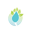 drop water leaf eco logo vector image vector image