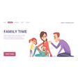 family time cute cartoon parents and children vector image vector image