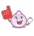 foam finger fresh slice onion isolated on mascot vector image