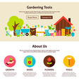 Gardening Tools Flat Web Design Template vector image