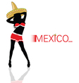 girl with sombrero in red silhouette vector image vector image