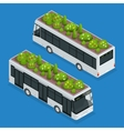Green roofs on bus Eco roof on bus Flat 3d