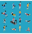 Gym Isometric Icons Set vector image vector image