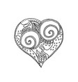 hand drawing heart with snail couple in love vector image vector image