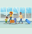 happy family boarding to plane in airport vector image