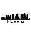 Harbin City skyline black and white silhouette vector image vector image