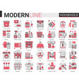 household complex red black flat line vector image vector image