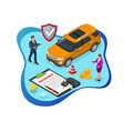 isometric car insurance services auto insurance vector image