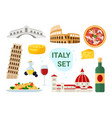 italy tourism set with famous italian food and vector image vector image