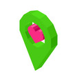 liked geolocation icon with pink heart inside vector image vector image