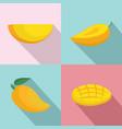 mango fruit yellow icons set flat style vector image vector image