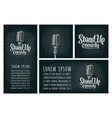 microphone lettered text stand-up comedy vintage vector image