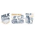 milk set cow and woman farmer milkmaid and jug vector image vector image