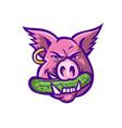 pink pig biting pickle mascot vector image