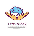 psychology logo design with open hand palms with vector image vector image