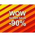 Red striped sale poster with WOW SUPER SALE MINUS