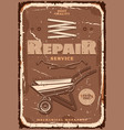 repair service mechanical workshop and tools vector image vector image