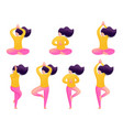 set girls in different poses during a yoga vector image