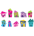 Set of the bright painted cartoon houses vector image vector image