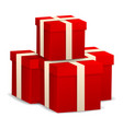 stack of red gift box icon realistic style vector image vector image