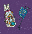 star fever astronaut under medical dropper vector image