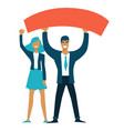 teamwork businessman and businesswoman holding vector image