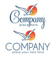 two logos with seagull vector image