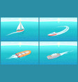 water transport sailing boat motor set vector image