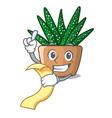 with menu cartoon zebra cactus blooming in garden vector image
